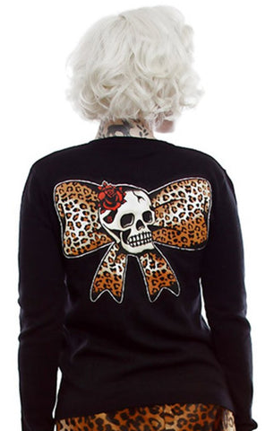 The LEOPARD BOW Skull Cardigan - LAST ONE IS A SMALL!