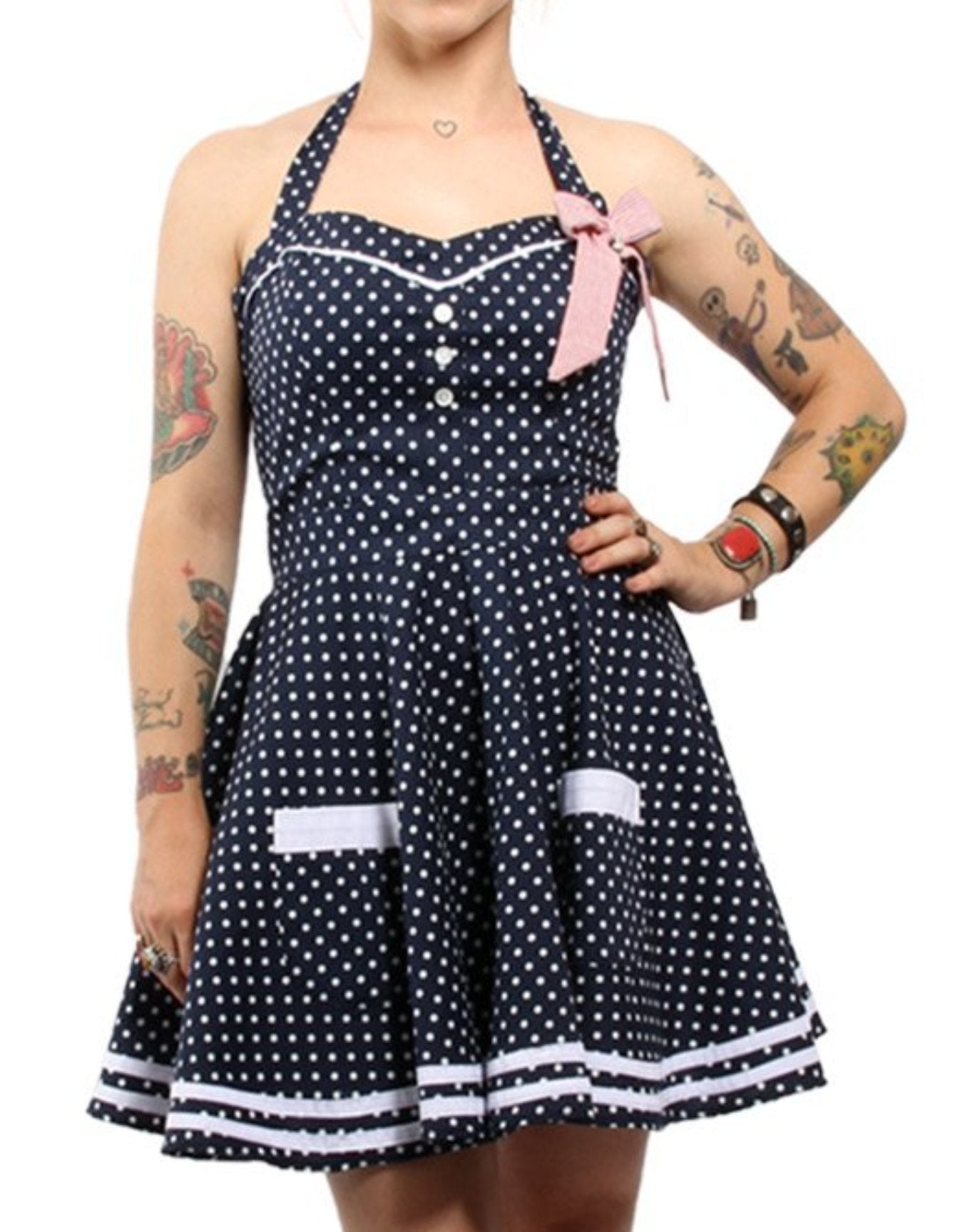 The DEVIL IN DEEP BLUE SEA Womens Cotton Polka Dot Sailor Halter Swing Dress