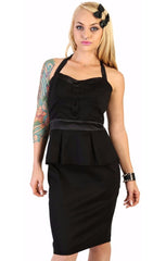 The JOHNNY Stretch Sateen Halter Tuxedo Dress