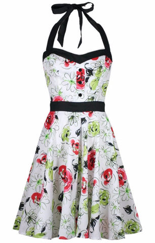 The SUNNY Floral Halter Swing Dress