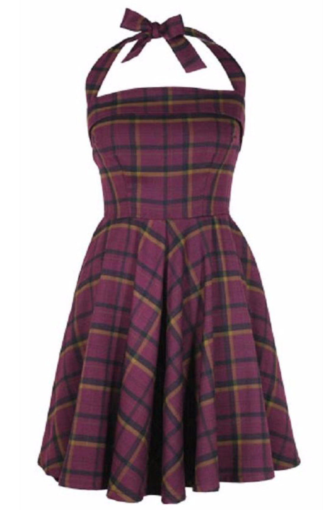 The PRETTY IN PLAID Halter Dress