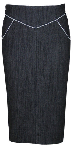 The SUGAR SHACK Denim Slub Pencil Skirt - BLACK