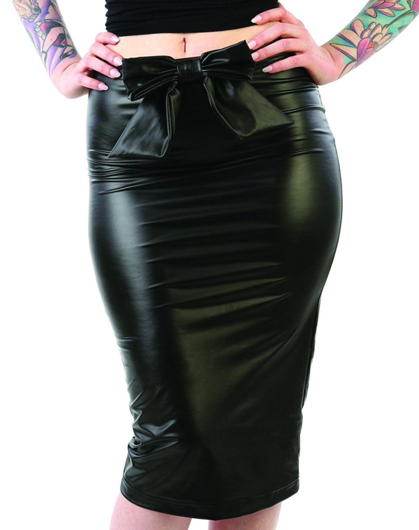 The PLEATHER BOW Pencil Skirt - ONLY SIZES MEDIUM & LARGE AVAILABLE!