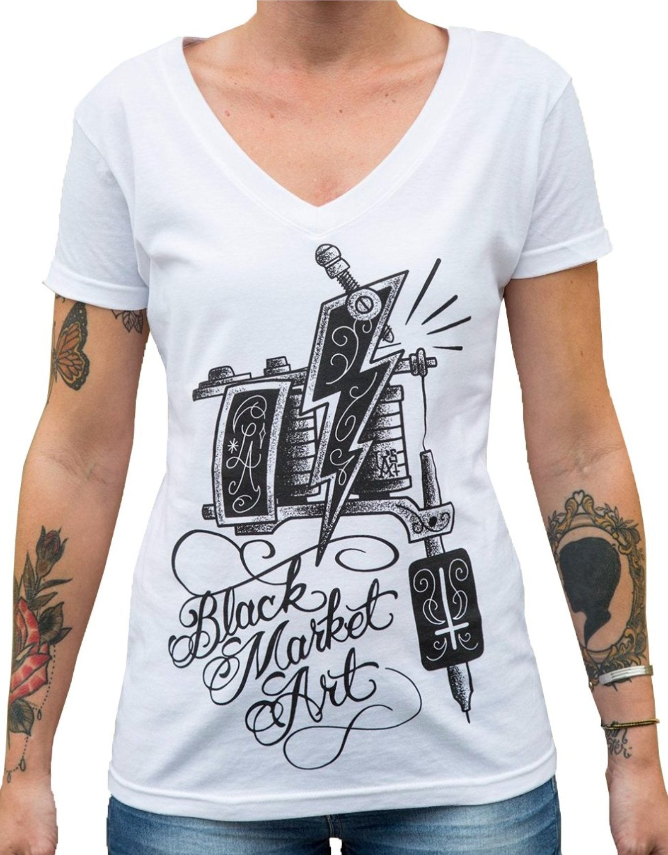 The MACHINE Women's V-Neck Tee by Lucky Aki