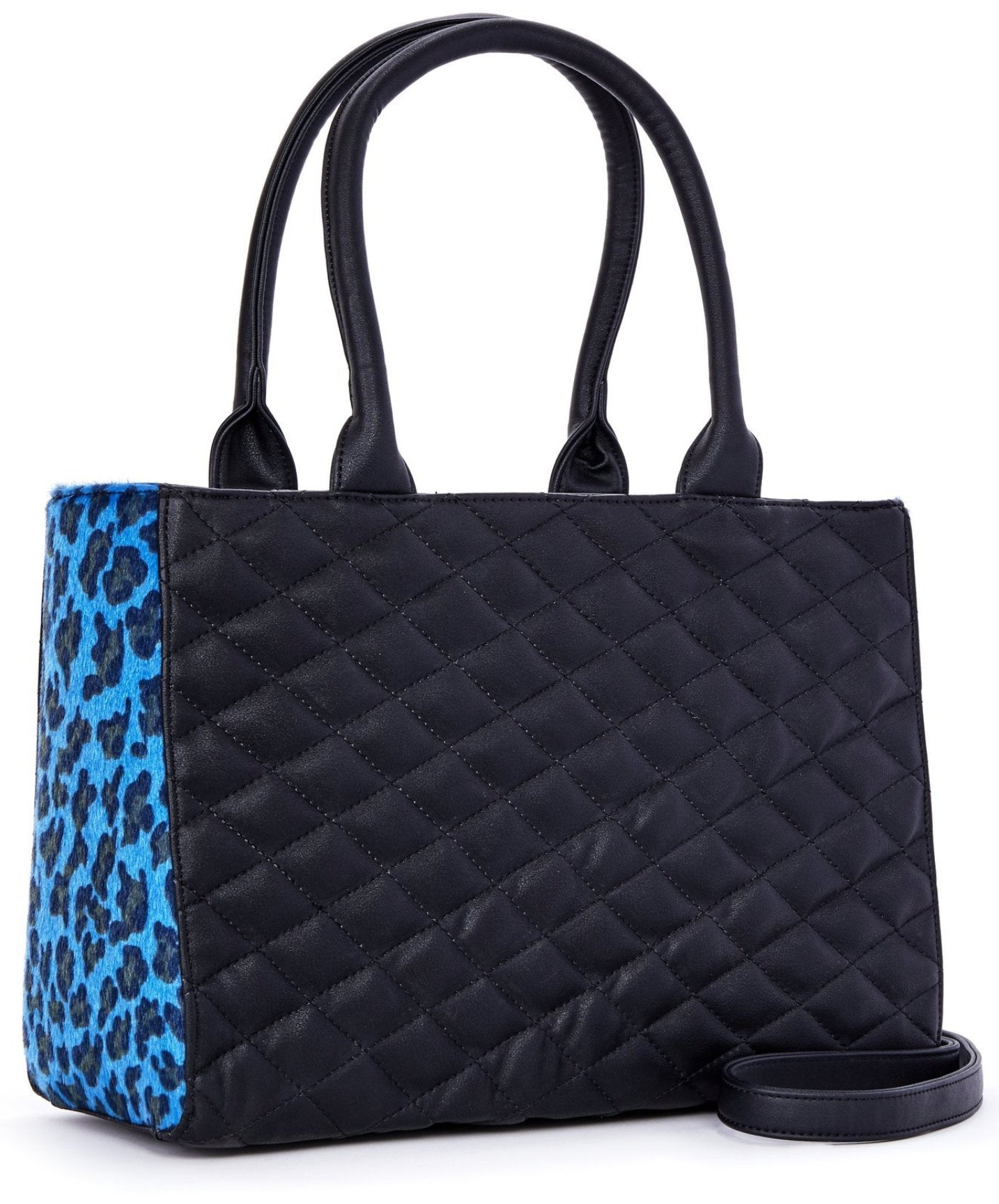 The SWEET PEA Tote - BLACK/BLUE LEOPARD