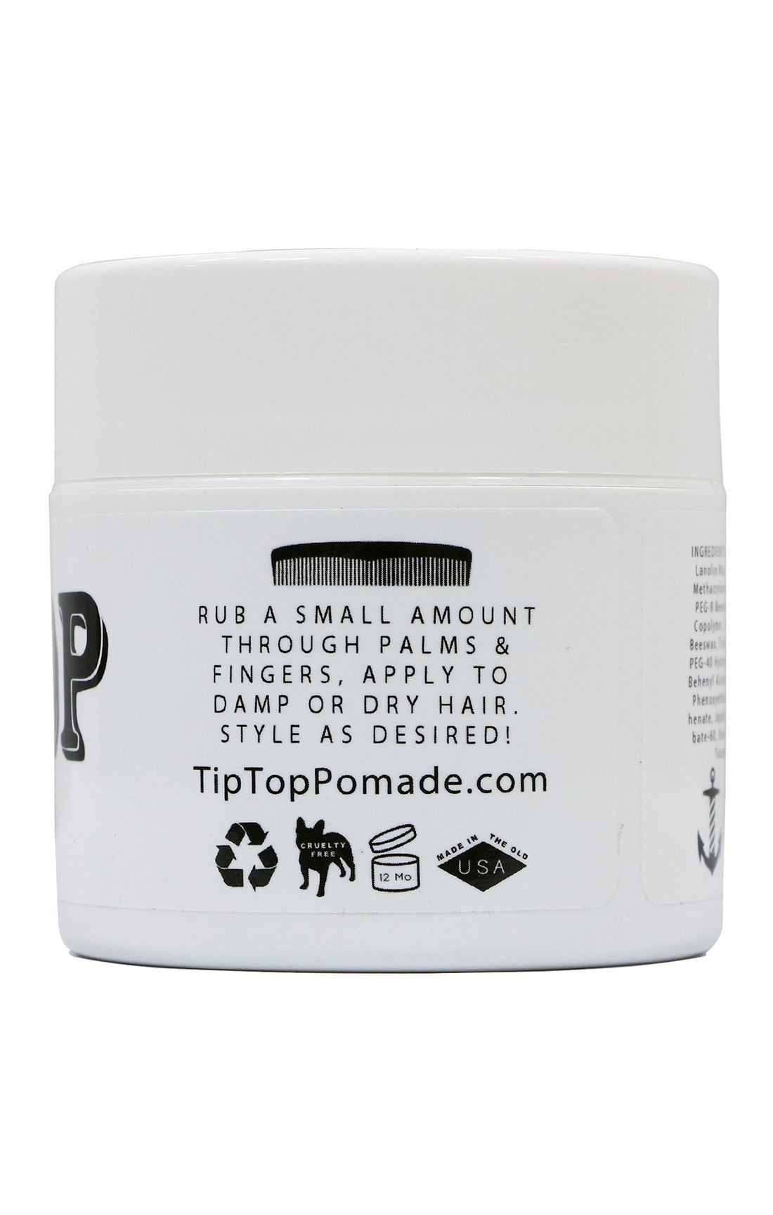 TIP TOP MATTE Pomade - Water Based 4.25 oz