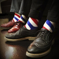 The BARBER POLE Socks - RED/WHITE/BLUE