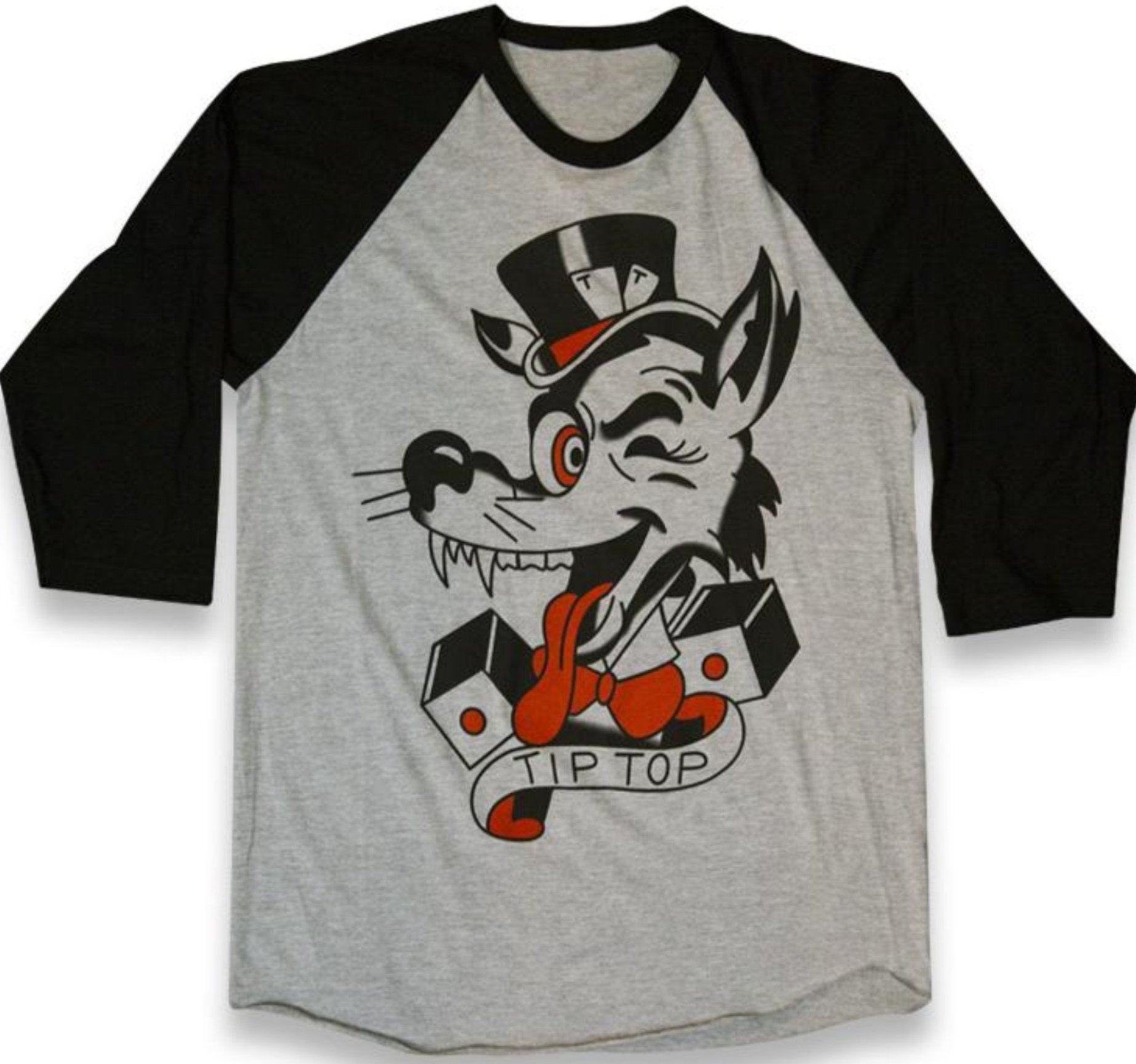 The TIP-TOP WOLF Baseball Tee - HEATHER GREY/BLACK