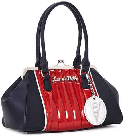The V-8 Kiss Lock Purse - VENOM RED SPARKLE