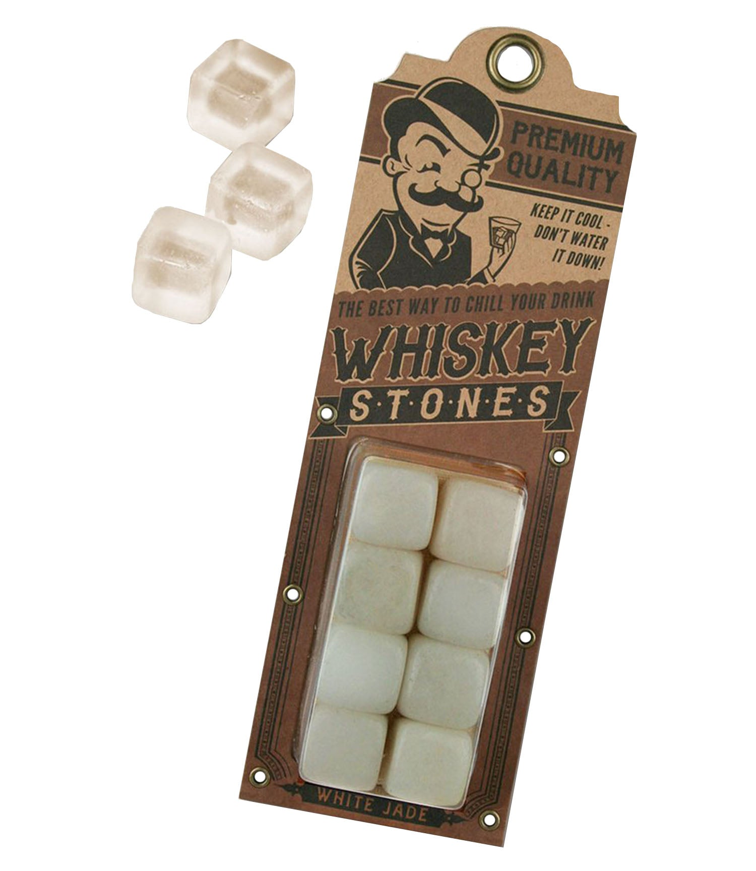 The WHITE JADE STONES Whiskey Stones Set