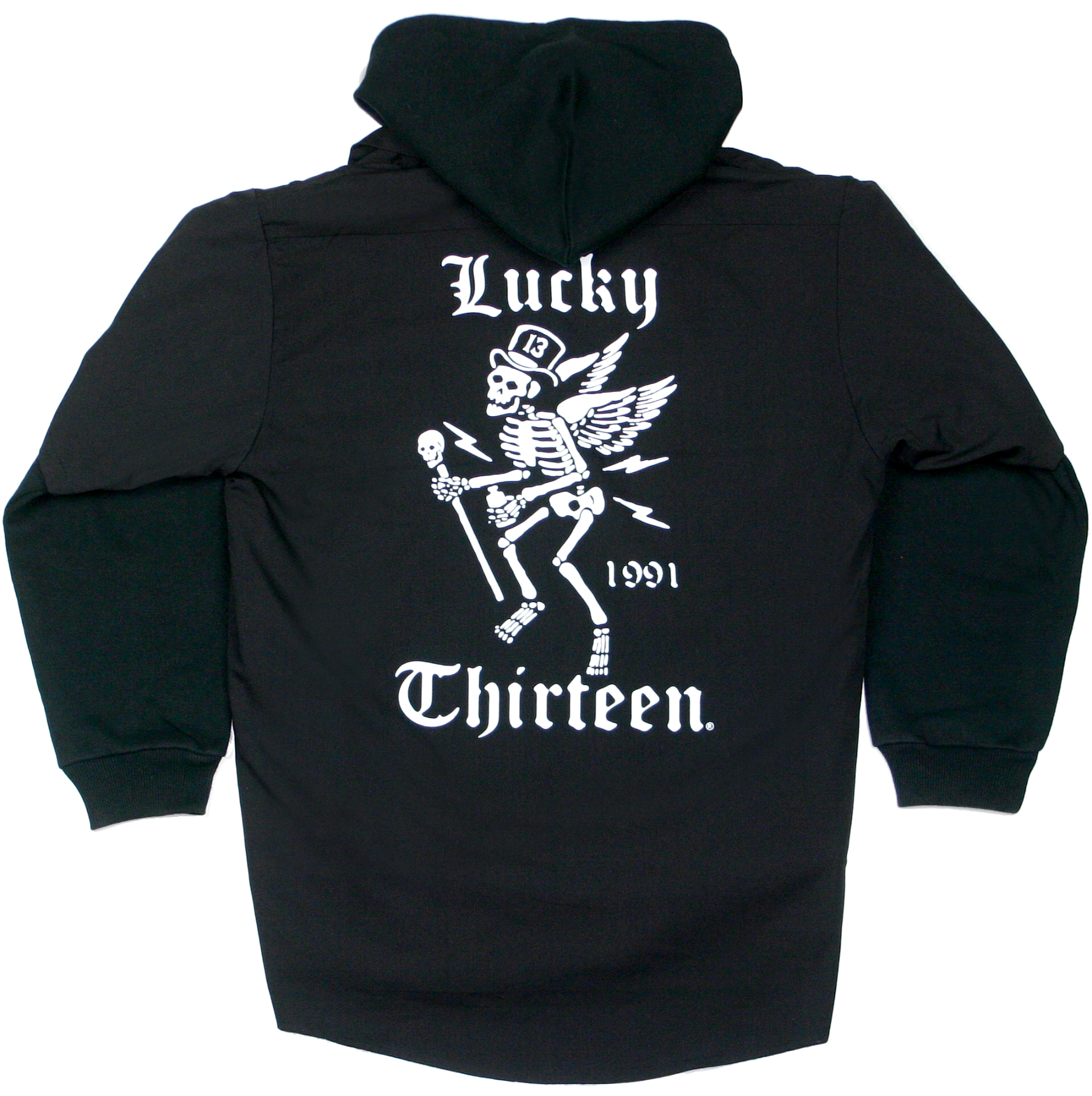 The WINGED SKULLY Men's Full Zip Hooded Work Shirt 2-Fer - LIMITED EDITION