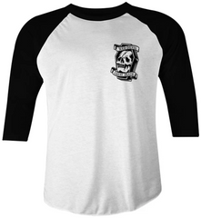 The CHEAT DEATH Raglan Tee - WHITE/BLACK