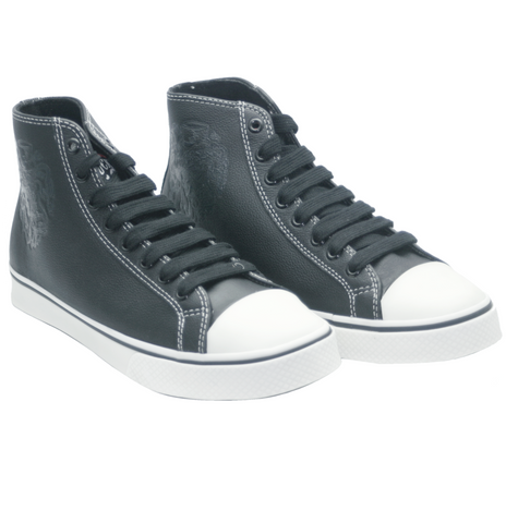 The RAMBLER Leather High Top - BLACK/WHITE