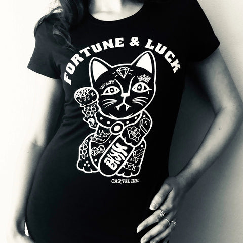 The TATTOOED GOOD FORTUNE CAT Women's Tee