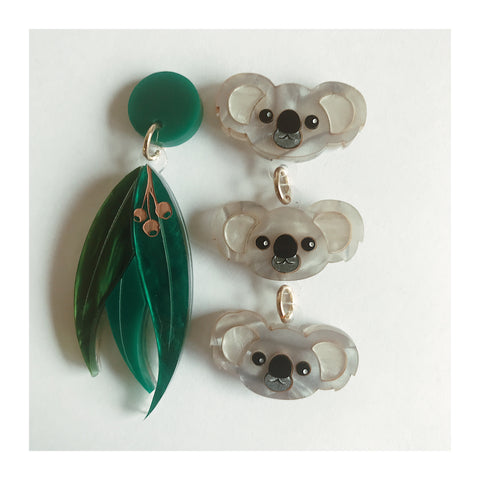 Koala and Gum Leaf Dangles