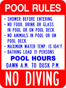 Pool Rules No Diving - Municipal Supply & Sign Co.