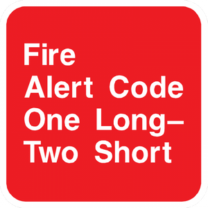 Fire Alert Code One Long Two Short Sign - Municipal Supply & Sign Co.