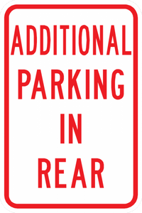 PS-2-Additional Parking In Rear Sign