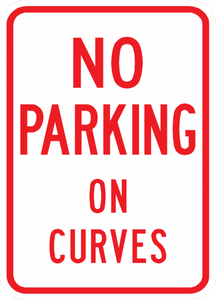 PS-33-No Parking On Curves Sign - Municipal Supply & Sign Co.