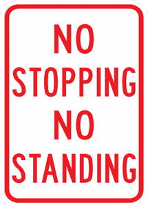 PS-37-No Stopping No Standing Sign - Municipal Supply & Sign Co.