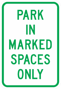 PS-48-Park In Marked Space Only Sign