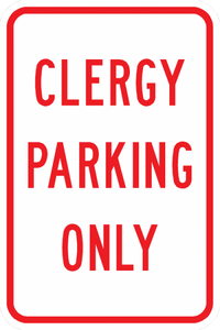 PS-8-Clergy Parking Only Sign - Municipal Supply & Sign Co.