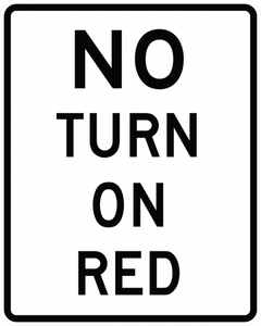 R10-11a-No Turn on Red Sign - Municipal Supply & Sign Co.