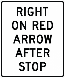 R10-17a-Right on Red Arrow After Stop Sign - Municipal Supply & Sign Co.
