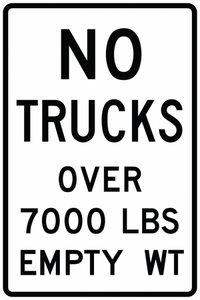 R12-3-No Trucks Over XX LBS Empty WT Sign - Municipal Supply & Sign Co.