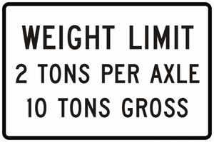 R12-4-Weight Limit XX Tons Per Axle XX Tons Gross Sign