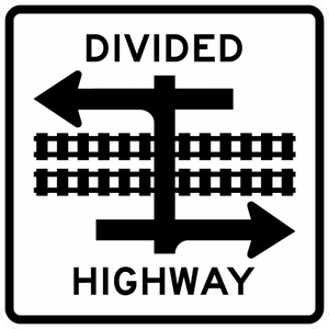 Light Rail Divided Highway Symbol
