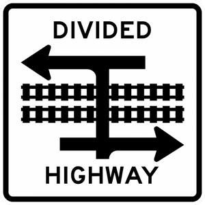 Light Rail Divided Highway Symbol (T-Intersection)