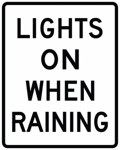 R16-6-Lights On When UsingWipers or Raining Sign - Municipal Supply & Sign Co.