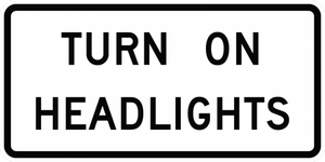 R16-8-Turn On, Check Headlights Sign