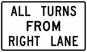 R3-23-All Turns (U Turn) from Right Lane Sign