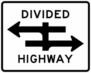 R6-3-Divided Highway Crossing Sign