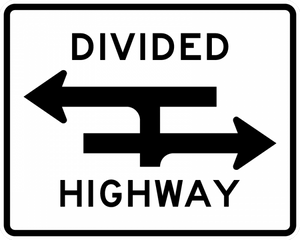 R6-3a-Divided Highway Crossing Sign