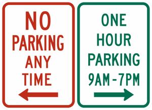 R7-200-No Parking Any Time/One Hour Parking (combined sign)