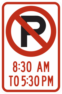 R7-2-No Parking XXam to XXpm Sign