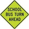 S3-2-School Bus Turn Ahead Sign