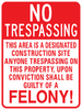 No Trespassing Construction Site Sign