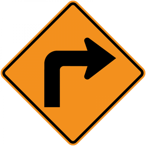 CW1-1-Turn and Curve Signs - Municipal Supply & Sign Co.