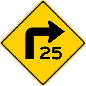 W1-1a-Combination HorizontalAlignment/Advisory Speed Sign - Municipal Supply & Sign Co.