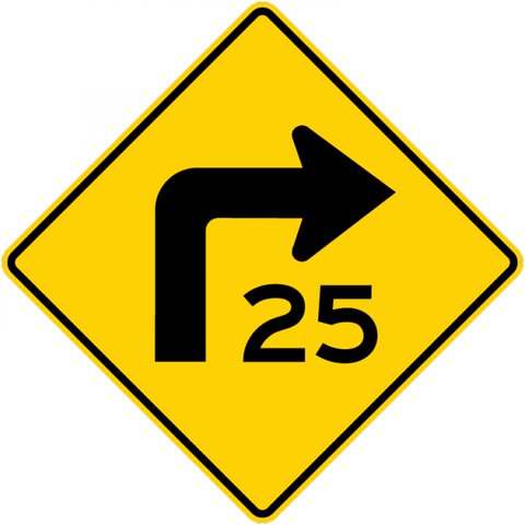 W1-1a-Combination HorizontalAlignment/Advisory Speed Sign