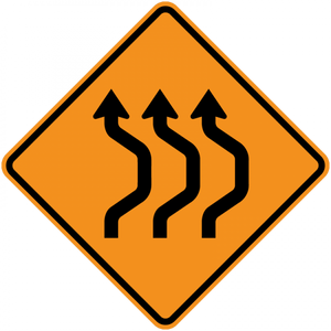 CW24-1b-Double Reverse Curve (3 lanes) - Municipal Supply & Sign Co.