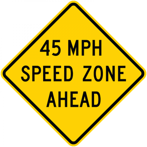 W3-5a-XX MPH Speed Zone Ahead