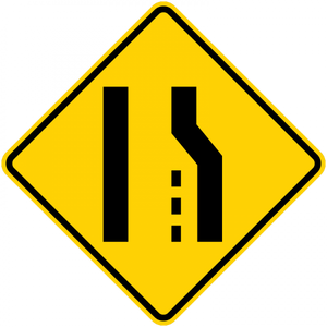 W4-2-Lane Ends Sign