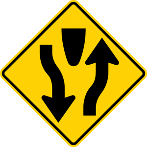 W6-1-Divided Highway Sign