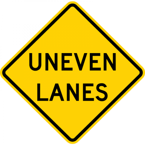 W8-11-Uneven Lanes Sign - Municipal Supply & Sign Co.