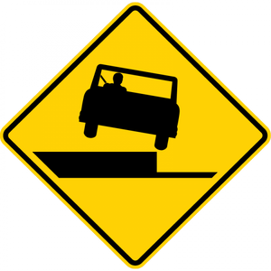 W8-17-Shoulder Drop Off Sign (symbol)